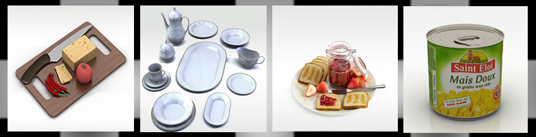 Kitchenware Foods 3D Models